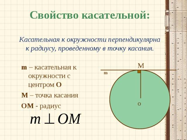 Свойство касательной:   Касательная к окружности перпендикулярна к радиусу, проведенному в точку касания. M m  – касательная к окружности с центром О М – точка касания OM - радиус m O