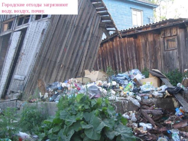 Городские отходы загрязняют воду, воздух, почву.