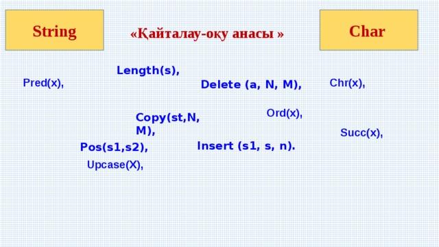 «Қайталау-оқу анасы » String Char Length(s), Pred(x), Chr(x), Delete (а, N, M), Ord(x), Copy(st,N,M),   Succ(x),  Insert (s1, s, n).  Pos(s1,s2), Upcase(X),