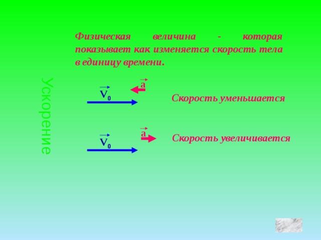 Ускорение Физическая величина - которая показывает как изменяется скорость тела в единицу времени. a V 0 Скорость уменьшается a Скорость увеличивается V 0