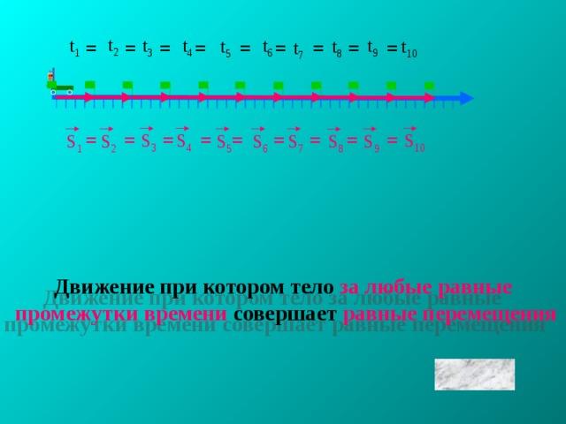 t 2 t 9 t 3 t 6 t 1 t 4 t 8 t 5 t 10 = = = = = = = t 7 = = = = = = = = = = = S 4 S 3 S 10 S 5 S 1 S 2 S 9 S 7 S 6 S 8 Движение при котором тело  за любые равные  промежутки времени  совершает  равные перемещения