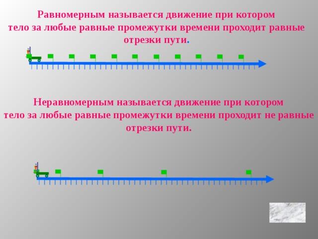 Равномерным называется движение при котором тело за любые равные промежутки времени проходит равные отрезки пути . Неравномерным называется движение при котором тело за любые равные промежутки времени проходит не равные отрезки пути.