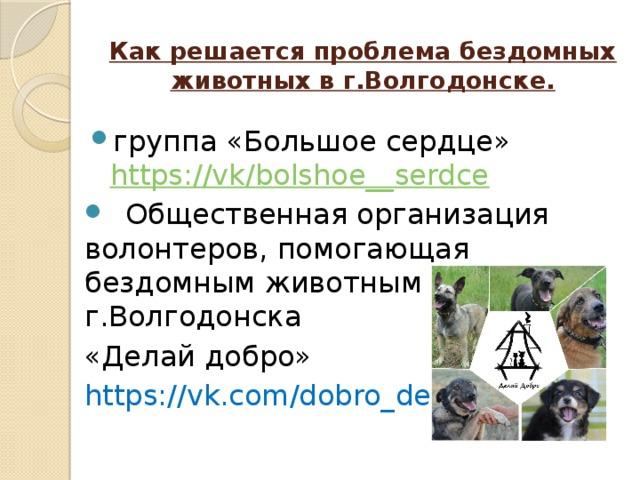 Как решается проблема бездомных животных в г.Волгодонске.   группа «Большое сердце» https://vk/bolshoe__serdce   Общественная организация волонтеров, помогающая бездомным животным г.Волгодонска «Делай добро» https://vk.com/dobro_delai