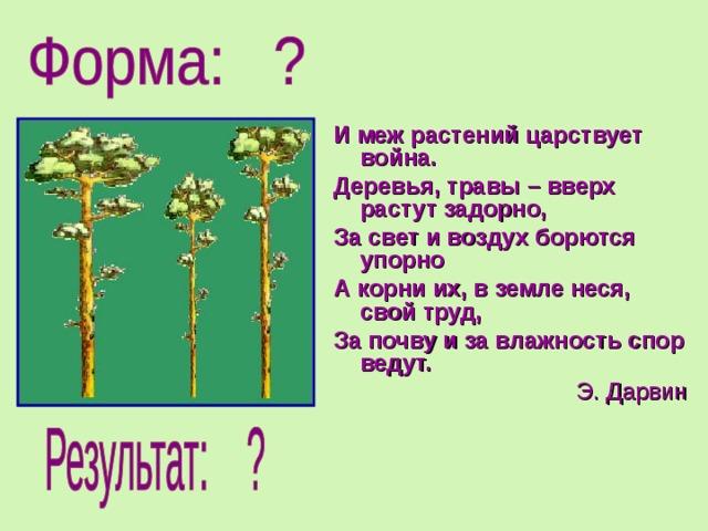 И меж растений царствует война. Деревья, травы – вверх растут задорно, За свет и воздух борются упорно А корни их, в земле неся, свой труд, За почву и за влажность спор ведут. Э. Дарвин
