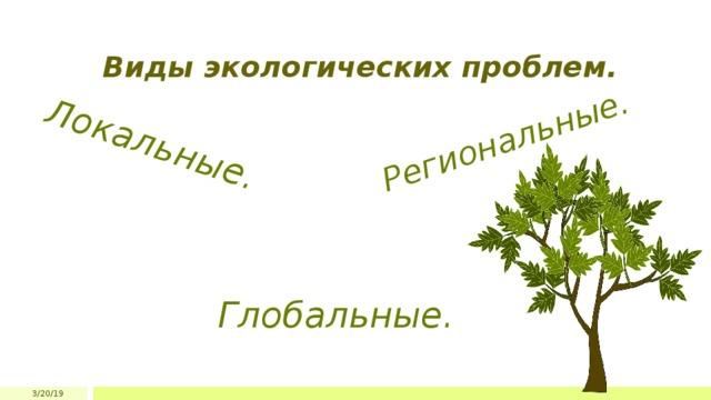 Локальные.  Региональные. Виды экологических проблем. Глобальные. 3/20/19