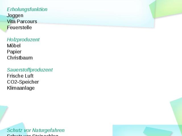 Erholungsfunktion Joggen Vita Parcours Feuerstelle  Holzproduzent Möbel Papier Christbaum  Sauerstoffproduzent Frische Luft CO2-Speicher Klimaanlage  Schutz vor Naturgefahren Schutz vor Steinschlag Schutz vor Lawinen Schutz vor Erosion  Wasserspeicher Schwamm Regenwasser Sauberes Wasser Vielfältiger Lebensraum  Vogelgezwitscher  Käfer  Pilze