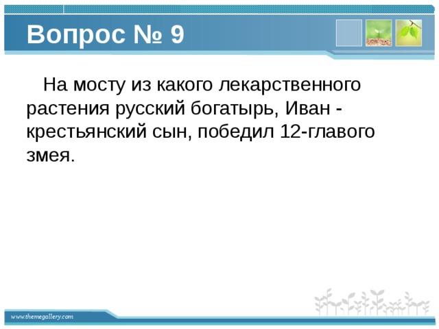 Вопрос № 9  На мосту из какого лекарственного растения русский богатырь, Иван - крестьянский сын, победил 12-главого змея.