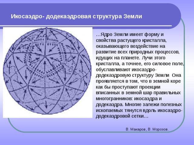 Икосаэдро- додекаэдровая структура Земли … Ядро Земли имеет форму и свойства растущего кристалла, оказывающего воздействие на развитие всех природных процессов, идущих на планете. Лучи этого кристалла, а точнее, его силовое поле, обуславливают икосаэдро-додекаэдровую структуру Земли Она проявляется в том, что в земной коре как бы проступают проекции вписанных в земной шар правильных многогранников: икосаэдра и додекаэдра. Многие залежи полезных ископаемых тянутся вдоль икосаэдро-додекаэдровой сетки…  В. Макаров, В. Морозов.