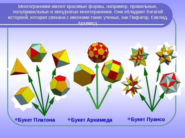 Многогранники имеют красивые формы, например, правильные, полуправильные и звездчатые многогранники. Они обладают богатой историей, которая связана с именами таких ученых, как Пифагор, Евклид, Архимед