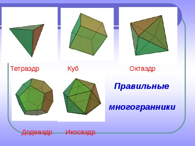 Тетраэдр Куб Октаэдр     Правильные    многогранники    Додеаэдр Икосаэдр