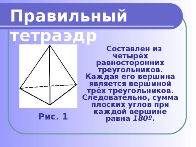 Правильный тетраэдр  Составлен из четырёх равносторонних треугольников. Каждая его вершина является вершиной трёх треугольников. Следовательно, сумма плоских углов при каждой вершине равна 180º . Рис. 1