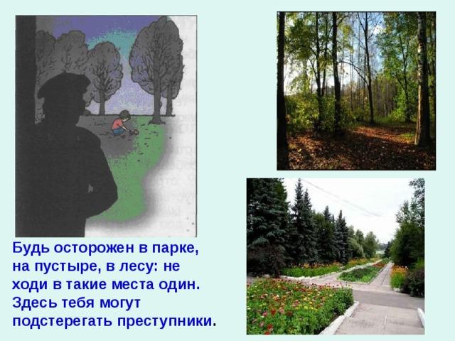 Будь осторожен в парке, на пустыре, в лесу: не ходи в такие места один. Здесь тебя могут подстерегать преступники .