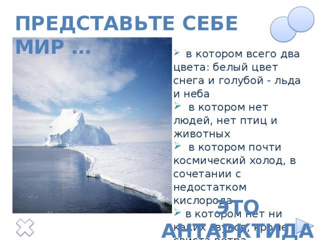 Представьте себе мир …  в котором всего два цвета: белый цвет снега и голубой - льда и неба  в котором нет людей, нет птиц и животных  в котором почти космический холод, в сочетании с недостатком кислорода  в котором нет ни каких звуков, кроме свиста ветра Текст появляется по щелчку на нижнюю снежинку. Это Антарктида
