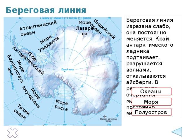 Тихий океан Атлантический океан Индийский океан Море Уэдделла Море  Росса Море Море Амундсена П-ов Беллинсгаузена Антарктический Береговая линия Береговая линия изрезана слабо, она постоянно меняется. Край антарктического ледника подтаивает, разрушается волнами, откалываются айсберги. В результате очертания материка постоянно меняются. Море Лазарева Океаны  Информация появляется по щелчку на прямоугольники с красными контурами. Моря  Полуостров