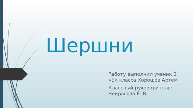 Шершни Работу выполнил ученик 2 «Б» класса Хорошев Артём Классный руководитель: Некрасова Е. В.