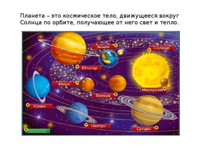 Планета – это космическое тело, движущееся вокруг Солнца по орбите, получающее от негосветитепло.