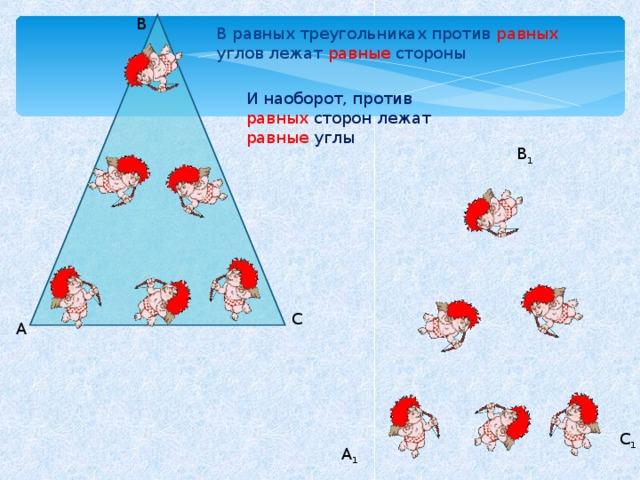 B В равных треугольниках против равных углов лежат равные стороны И наоборот, против равных сторон лежат равные углы B 1 C А C 1 A 1