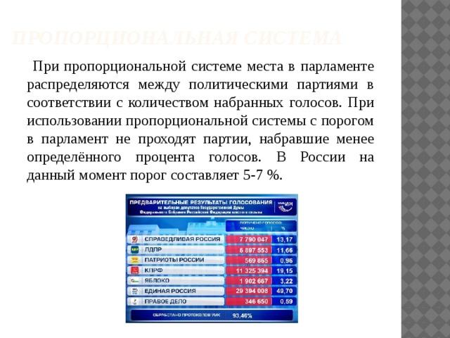 Пропорциональная система  При пропорциональной системе места в парламенте распределяются между политическими партиями в соответствии с количеством набранных голосов. При использовании пропорциональной системы с порогом в парламент не проходят партии, набравшие менее определённого процента голосов. В России на данный момент порог составляет 5-7%.