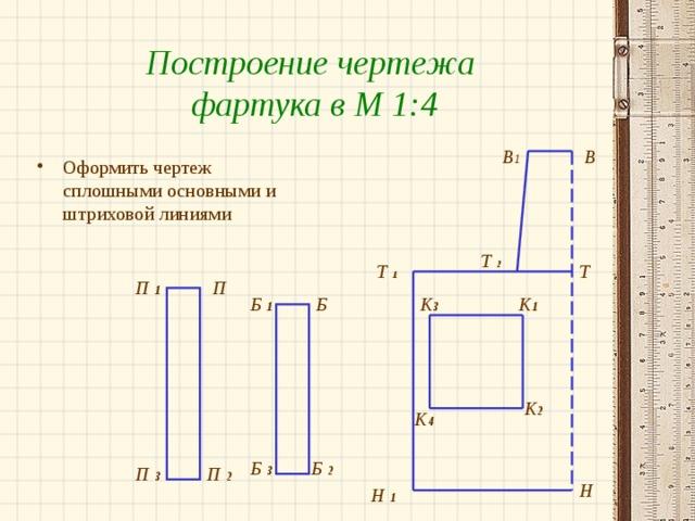 Построение чертежа фартука в М 1:4 В 1 В Оформить чертеж сплошными основными и штриховой линиями Т  2 Т Т  1 П П 1 К 1 Б 1 Б К 3 К 2 К 4 Б 2 Б 3 П 2 П 3 Н Н 1