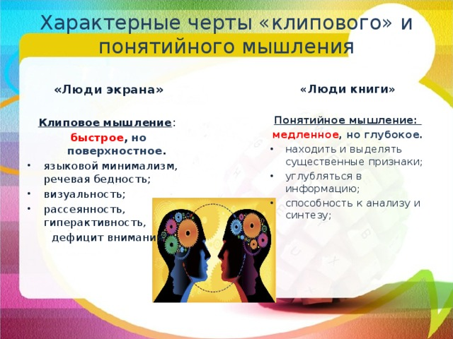 Характерные черты «клипового» и понятийного мышления «Люди экрана» «Люди книги»  Клиповое мышление : Понятийное мышление: быстрое ,  но поверхностное . медленное ,  но глубокое . находить и выделять существенные признаки; углубляться в информацию; способность к анализу и синтезу; языковой минимализм, речевая бедность; визуальность; рассеянность, гиперактивность,  дефицит внимания.