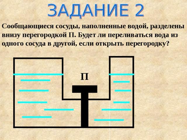 Сообщающиеся сосуды, наполненные водой, разделены внизу перегородкой П. Будет ли переливаться вода из одного сосуда в другой, если открыть перегородку? П