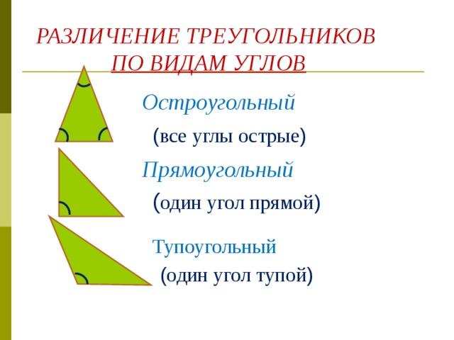 РАЗЛИЧЕНИЕ ТРЕУГОЛЬНИКОВ  ПО ВИДАМ УГЛОВ Остроугольный ( все углы острые ) Прямоугольный ( один угол прямой ) Тупоугольный ( один угол тупой )