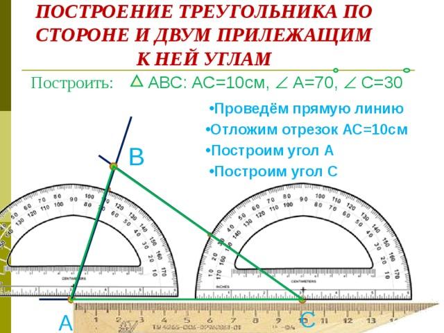 ПОСТРОЕНИЕ ТРЕУГОЛЬНИКА ПО СТОРОНЕ И ДВУМ ПРИЛЕЖАЩИМ К НЕЙ УГЛАМ Построить:  АВС: АС=10см,   А=70,   С=30 Проведём прямую линию Отложим отрезок АС=10см Построим угол А Построим угол А Построим угол А Построим угол А В Построим угол С С А