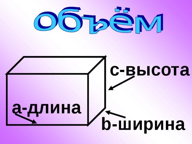 с-высота а-длина b -ширина