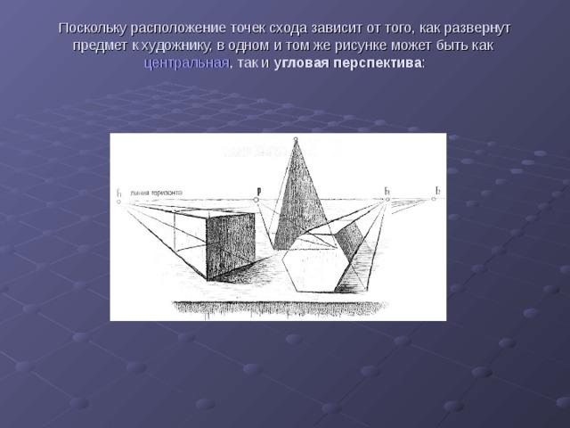 Поскольку расположение точек схода зависит от того, как развернут предмет к художнику, в одном и том же рисунке может быть как центральная , так и угловая перспектива :