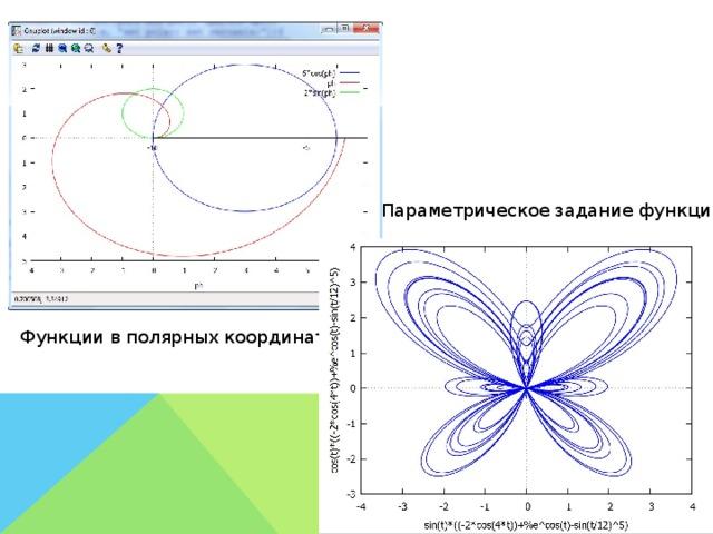 Параметрическое задание функции Функции в полярных координатах