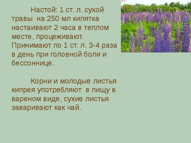 Настой: 1 ст. л. сухой травы на 250 мл кипятка настаивают 2 часа в теплом месте, процеживают. Принимают по 1 ст. л. 3-4 раза в день при головной боли и бессоннице.  Корни и молодые листья кипрея употребляют  в пищу в вареном виде, сухие листья заваривают как чай.