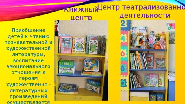 Центр театрализованной деятельности Книжный центр Приобщение детей к чтению познавательной и художественной литературы, воспитание эмоционального отношения к героям художественно - литературных произведений осуществляется вмини библиотеке .