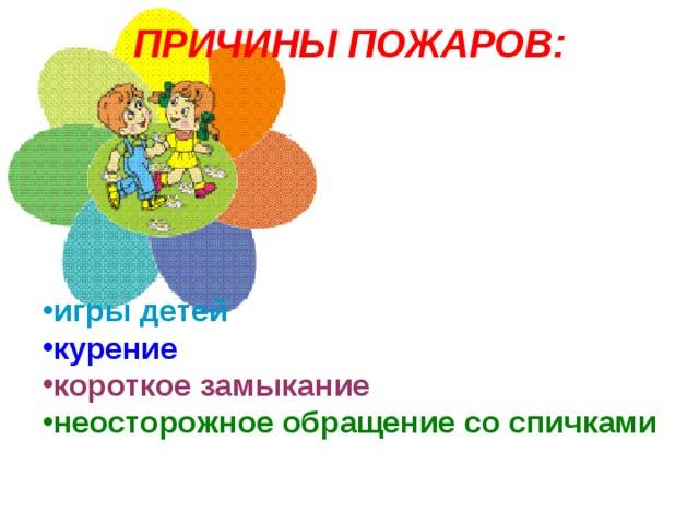 ПРИЧИНЫ ПОЖАРОВ:   игры детей курение короткое замыкание неосторожное обращение со спичками