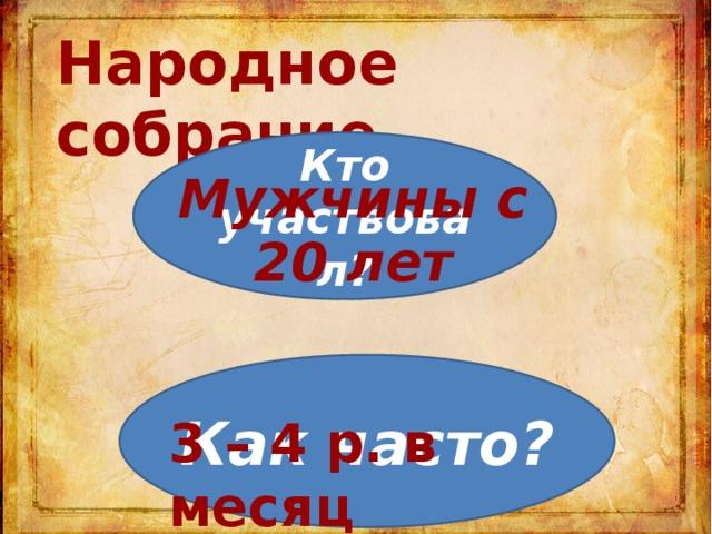 Народное собрание Кто участвовал? Мужчины с 20 лет Как часто? 3 – 4 р. в месяц