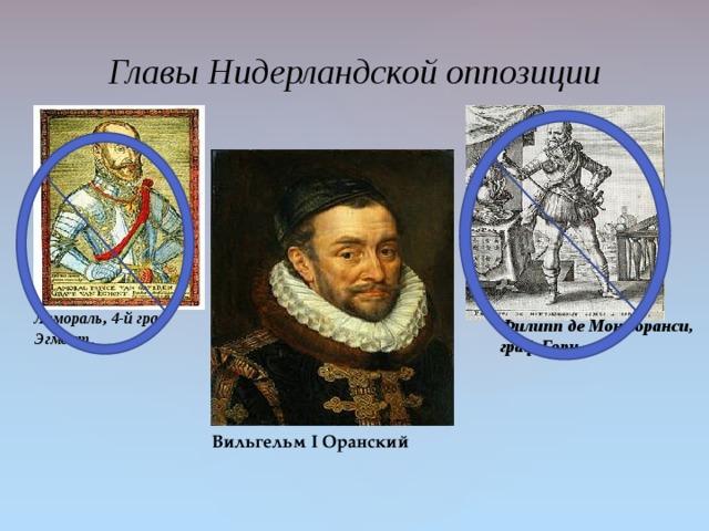 Главы Нидерландской оппозиции Ламораль, 4-й граф Эгмонт . Филипп де Монморанси, граф Горн Вильгельм I Оранский