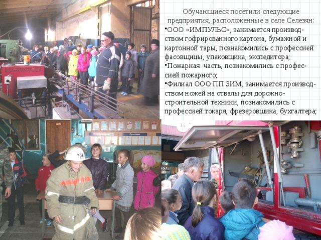 Обучающиеся посетили следующие предприятия, расположенные в селе Селезян: