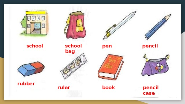 school school bag pen pencil rubber ruler book pencil case