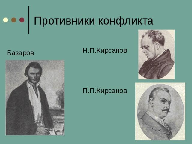 Противники конфликта Базаров Н.П.Кирсанов П.П.Кирсанов