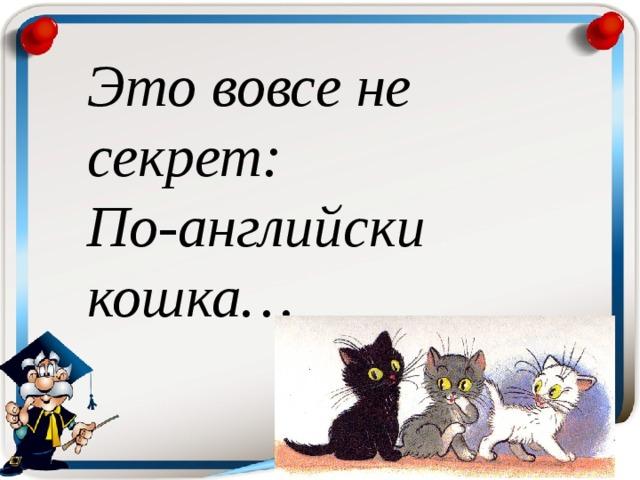 Это вовсе не секрет:  По-английски кошка …