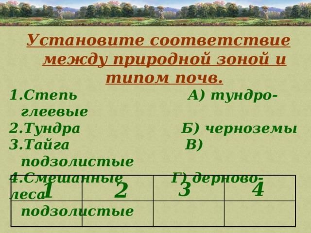 Установите соответствие между природной зоной и типом почв. Степь А) тундро-глеевые Тундра Б) черноземы Тайга В) подзолистые Смешанные Г) дерново- леса подзолистые   1 4 3 2