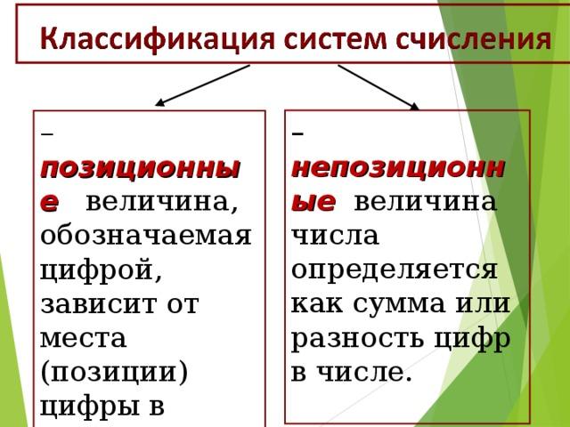 – непозиционные   величина числа определяется как сумма или разность цифр в числе. – позиционные величина, обозначаемая цифрой, зависит от места (позиции) цифры в числе ;