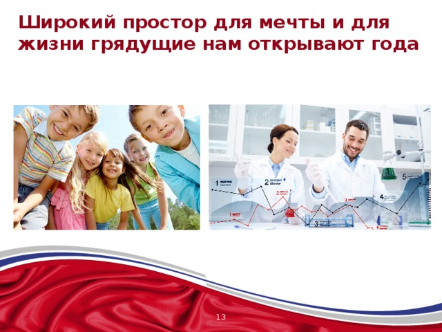 Широкий простор для мечты и для жизни грядущие нам открывают года Третий куплет гимна обращен к современности. Широкий простор для мечты и для жизни Грядущие нам открывают года. Россия всегда смотрит в будущее. Все исторические события в нашей стране происходят для того, чтобы это будущее наступило. Будущее страны – это её дети, молодежь, их достижения, успехи и победы. От того, в каких традициях воспитывается подрастающее поколение, уважают ли они свою Родину, почитают ли историю своей страны, родного края, семьи, зависит будущее всех нас, а значит будущее Отчизны.