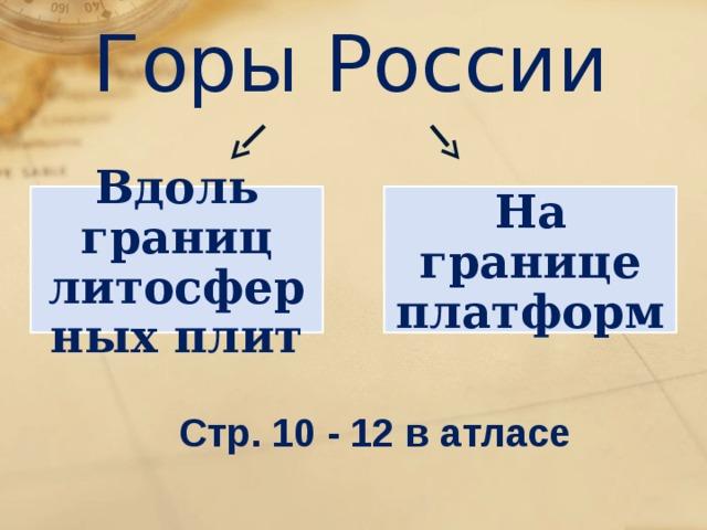 Горы России Вдоль границ литосферных плит На границе платформ Стр. 10 - 12 в атласе