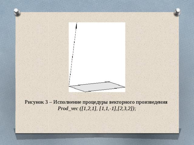 Рисунок 3 – Исполнение процедуры векторного произведения Prod_vec ([1,2,1], [1,1,-1],[2,3,2]);