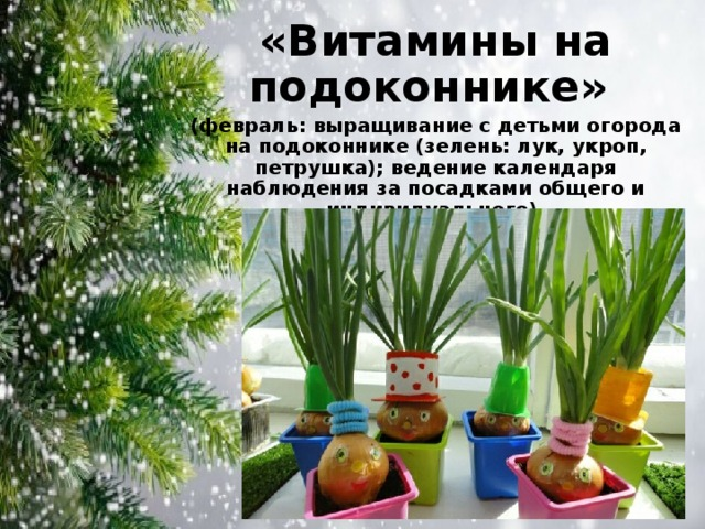 «Витамины на подоконнике» (февраль: выращивание с детьми огорода на подоконнике (зелень: лук, укроп, петрушка); ведение календаря наблюдения за посадками общего и индивидуального).