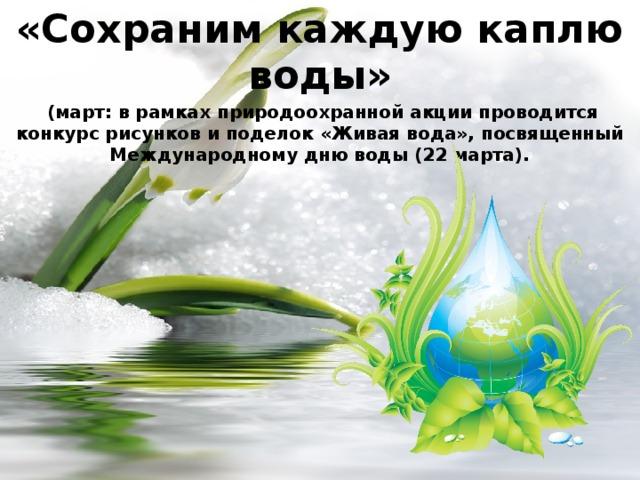 «Сохраним каждую каплю воды»  (март: в рамках природоохранной акции проводится конкурс рисунков и поделок «Живая вода», посвященный Международному дню воды (22 марта).