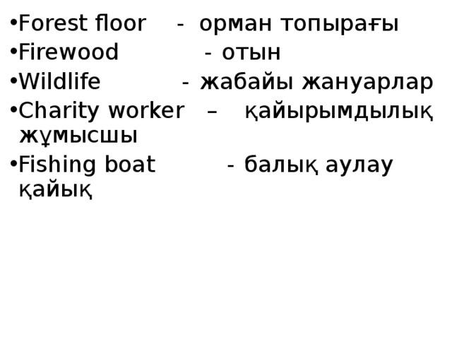Forest floor   -  орман топырағы Firewood   -  отын Wildlife   -  жабайы жануарлар Charity worker  –  қайырымдылық жұмысшы Fishing boat  -  балық аулау қайық
