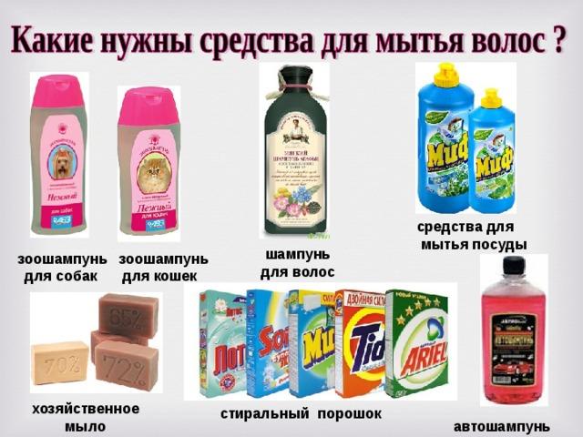 средства  для  мытья  посуды  шампунь для волос  зоошампунь для собак  зоошампунь для кошек хозяйственное  мыло  стиральный порошок  автошампунь