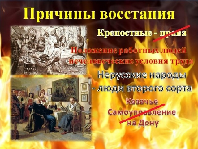 Причины восстания Крепостные - права Положение работных людей  нечеловеческие условия труда