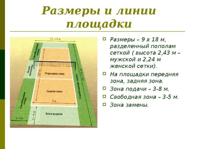 Размеры и линии площадки